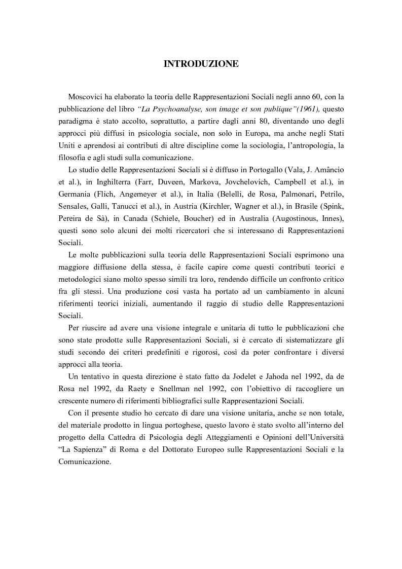 Anteprima della tesi: La diffusione delle rappresentazioni sociali in lingua portoghese, Pagina 1