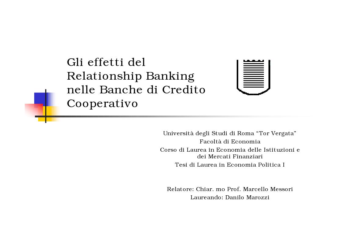 Anteprima della tesi: Gli effetti del Relationship Banking nelle Banche di Credito Cooperativo, Pagina 1