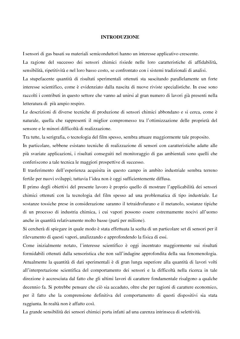 Anteprima della tesi: Sensori per tetraidrofurano e metanolo: dal modello alla caratterizzazione, Pagina 1
