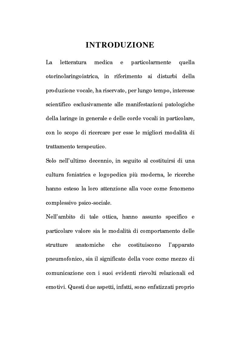 Anteprima della tesi: Pedagogia vocale e terapia riabilitativa nello specifico attorale, Pagina 1