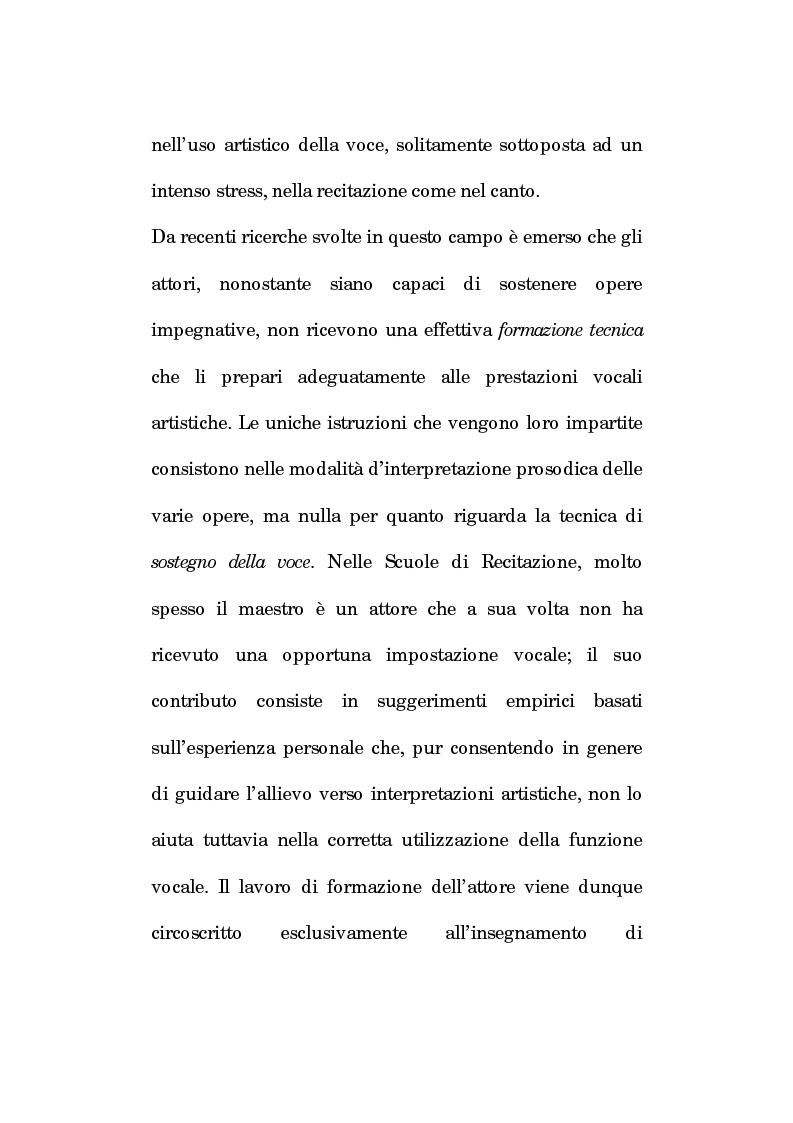 Anteprima della tesi: Pedagogia vocale e terapia riabilitativa nello specifico attorale, Pagina 2