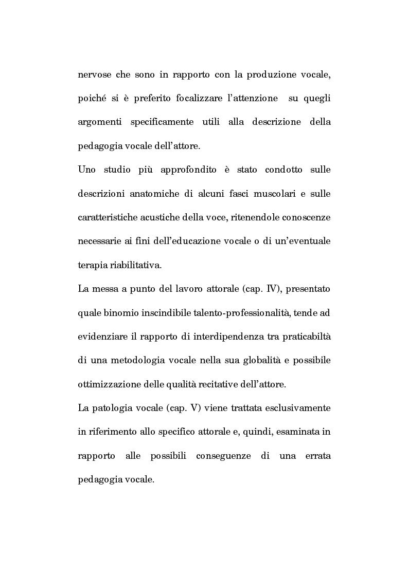 Anteprima della tesi: Pedagogia vocale e terapia riabilitativa nello specifico attorale, Pagina 5