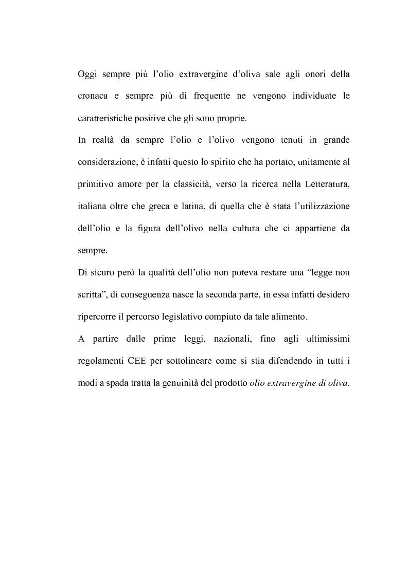 Anteprima della tesi: L'analisi sensoriale degli oli vergini di oliva: aspetti storici, legislativi e tecnico scientifici, Pagina 2