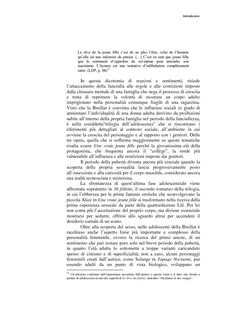 Anteprima della tesi: L'opera narrativa di Catherine Breillat, Pagina 7