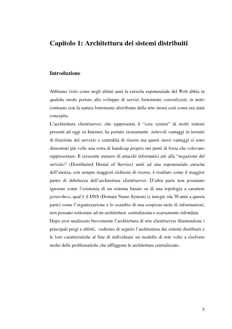 Anteprima della tesi: Qualità di servizio per reti peer-to-peer, Pagina 1