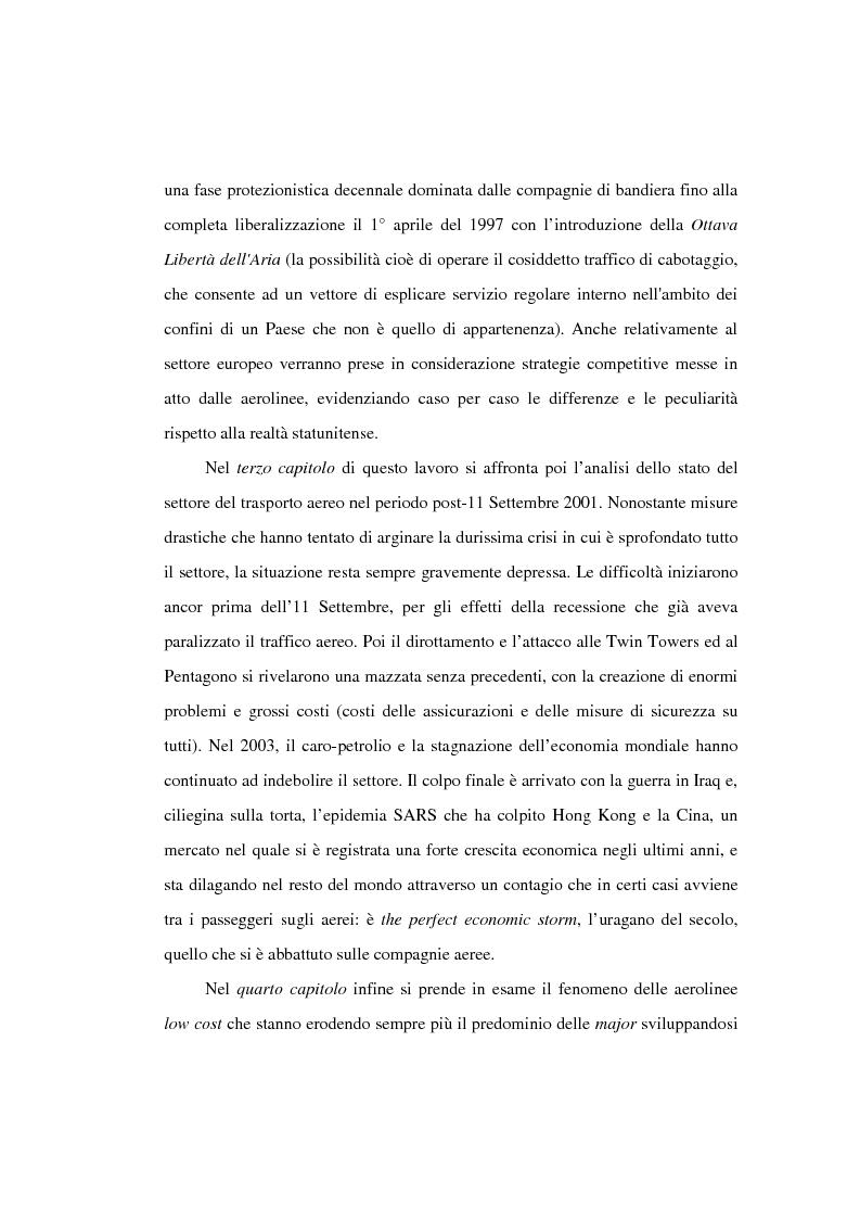 Anteprima della tesi: Evoluzione del trasporto aereo e accordi tra aerolinee: dalla deregolamentazione al dopo 11 settembre, Pagina 3