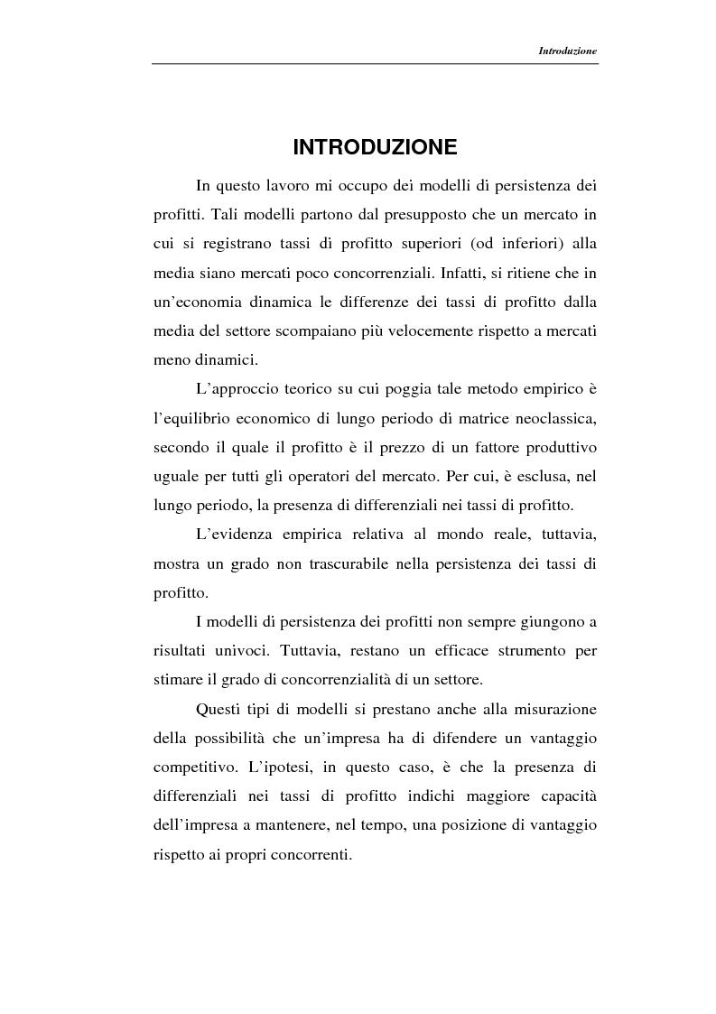 Anteprima della tesi: Modelli di persistenza dei profitti, Pagina 1