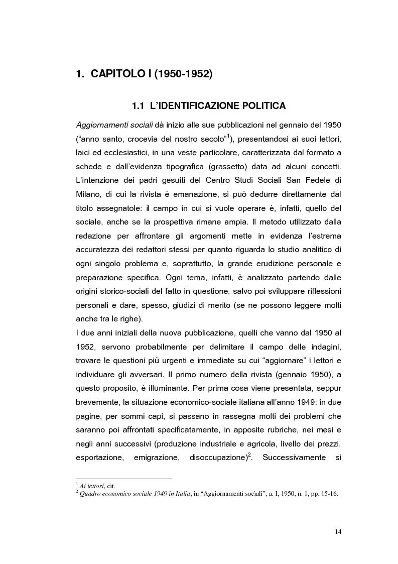 Anteprima della tesi: ''Aggiornamenti Sociali'' 1950-1963: un percorso attraverso i cambiamenti politico-sociali negli anni della ricostruzione e del boom economico, Pagina 11