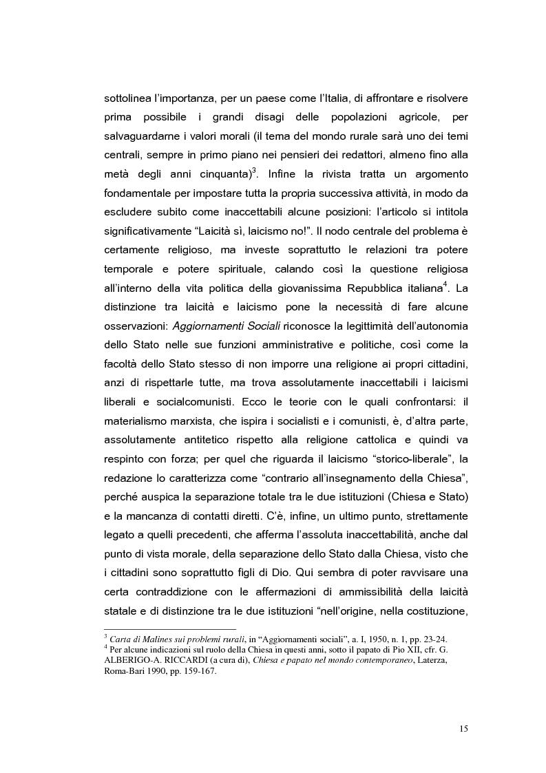Anteprima della tesi: ''Aggiornamenti Sociali'' 1950-1963: un percorso attraverso i cambiamenti politico-sociali negli anni della ricostruzione e del boom economico, Pagina 12