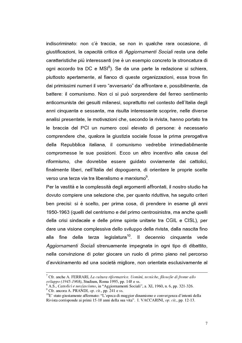 Anteprima della tesi: ''Aggiornamenti Sociali'' 1950-1963: un percorso attraverso i cambiamenti politico-sociali negli anni della ricostruzione e del boom economico, Pagina 4