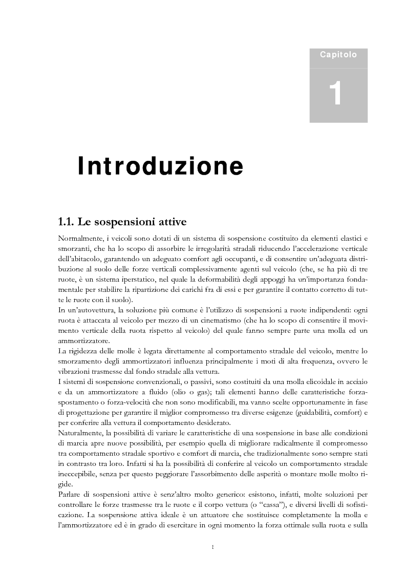 Anteprima della tesi: Sistemi di sospensione attiva con molle ad aria per autoveicoli, Pagina 1