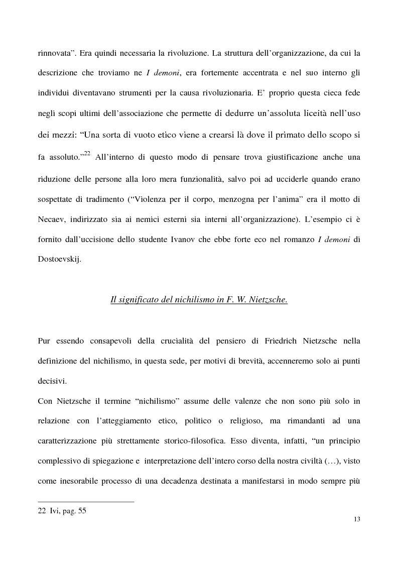 Anteprima della tesi: L'impossibilità del negativo. Il problema del nichilismo in Fedor M. Dostoevskij, Pagina 13