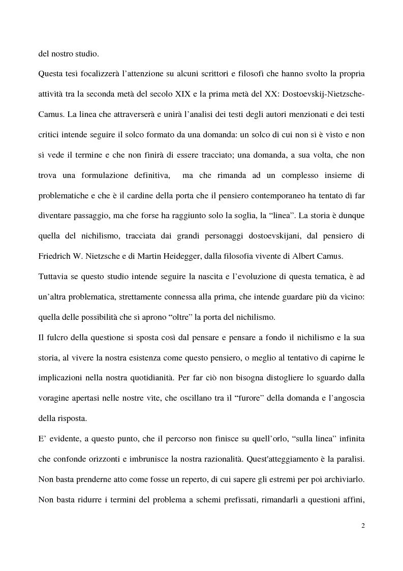 Anteprima della tesi: L'impossibilità del negativo. Il problema del nichilismo in Fedor M. Dostoevskij, Pagina 2