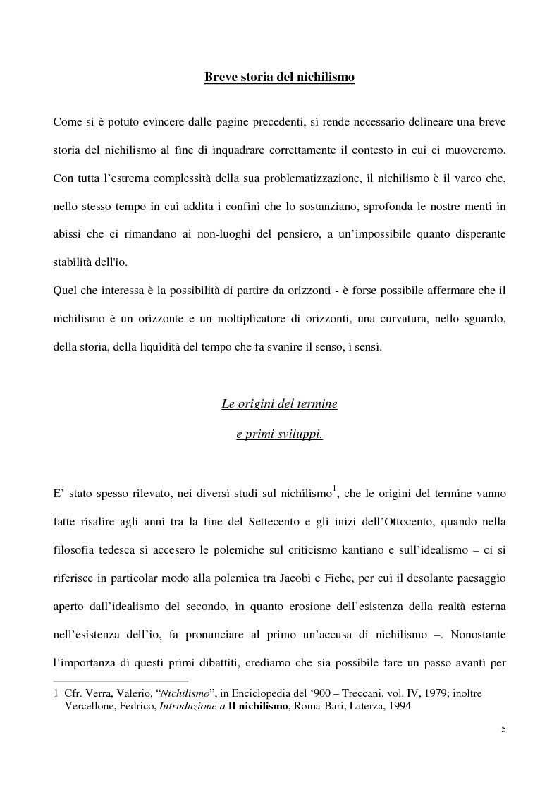 Anteprima della tesi: L'impossibilità del negativo. Il problema del nichilismo in Fedor M. Dostoevskij, Pagina 5