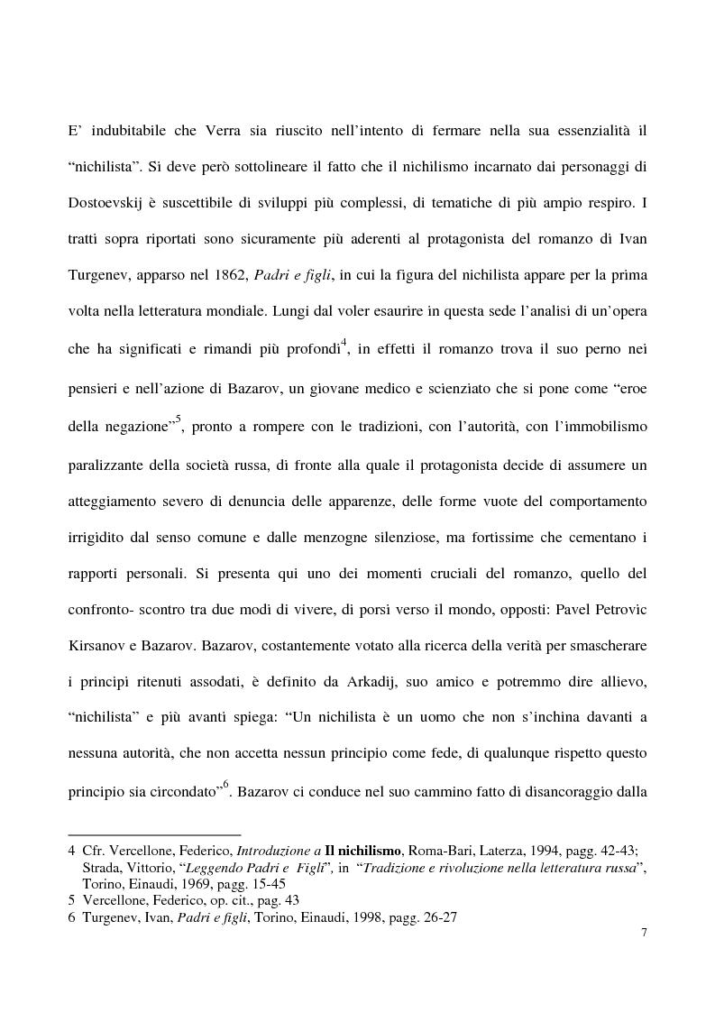 Anteprima della tesi: L'impossibilità del negativo. Il problema del nichilismo in Fedor M. Dostoevskij, Pagina 7