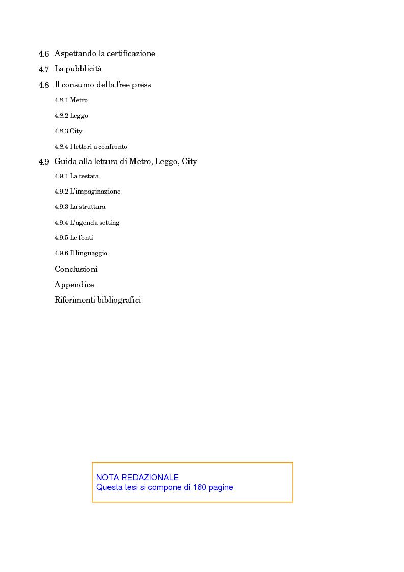 Indice della tesi: Leggo City in Metro. Viaggio nel fenomeno della free press, Pagina 3