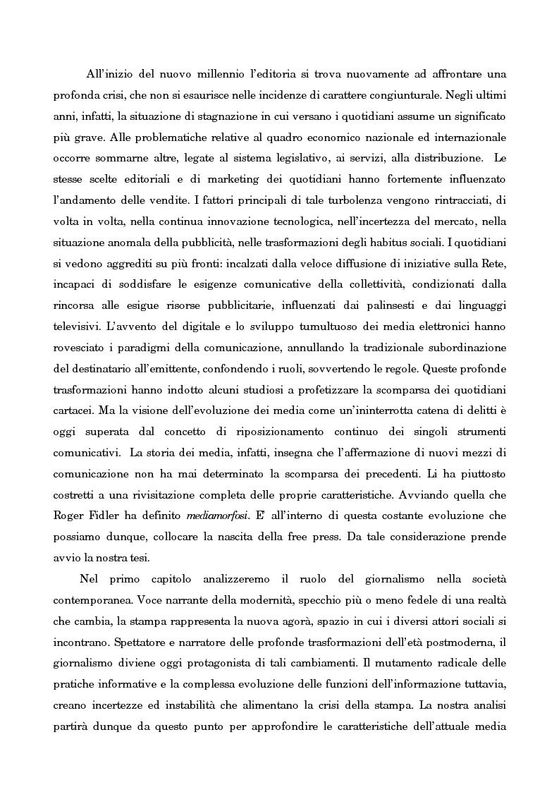 Anteprima della tesi: Leggo City in Metro. Viaggio nel fenomeno della free press, Pagina 2