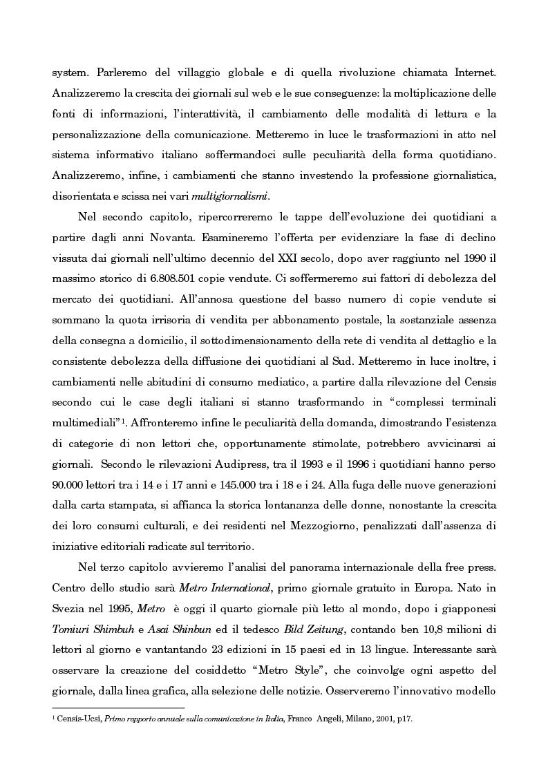 Anteprima della tesi: Leggo City in Metro. Viaggio nel fenomeno della free press, Pagina 3