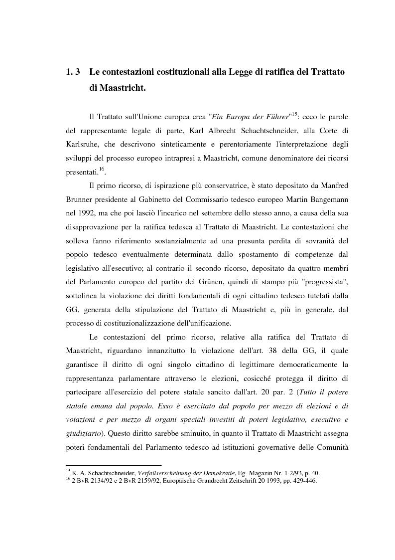 Anteprima della tesi: Maastricht: la legittimità della costruzione europea nel dibattito tedesco, Pagina 13