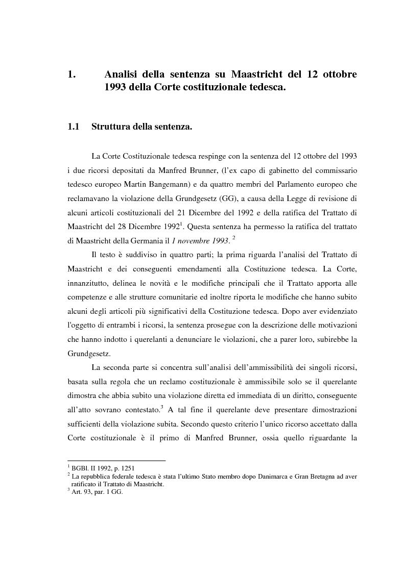 Anteprima della tesi: Maastricht: la legittimità della costruzione europea nel dibattito tedesco, Pagina 7
