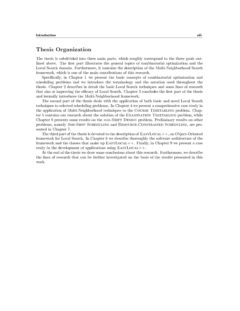 Anteprima della tesi: Local Search Techniques and Tools for Scheduling Problems, Pagina 3