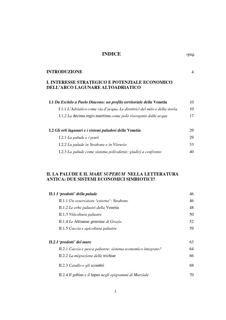 Indice della tesi: L'economia della palude e l'economia del mare nell'Alto Adriatico romano: immaginario antico e nuove prospettive esegetiche, Pagina 1