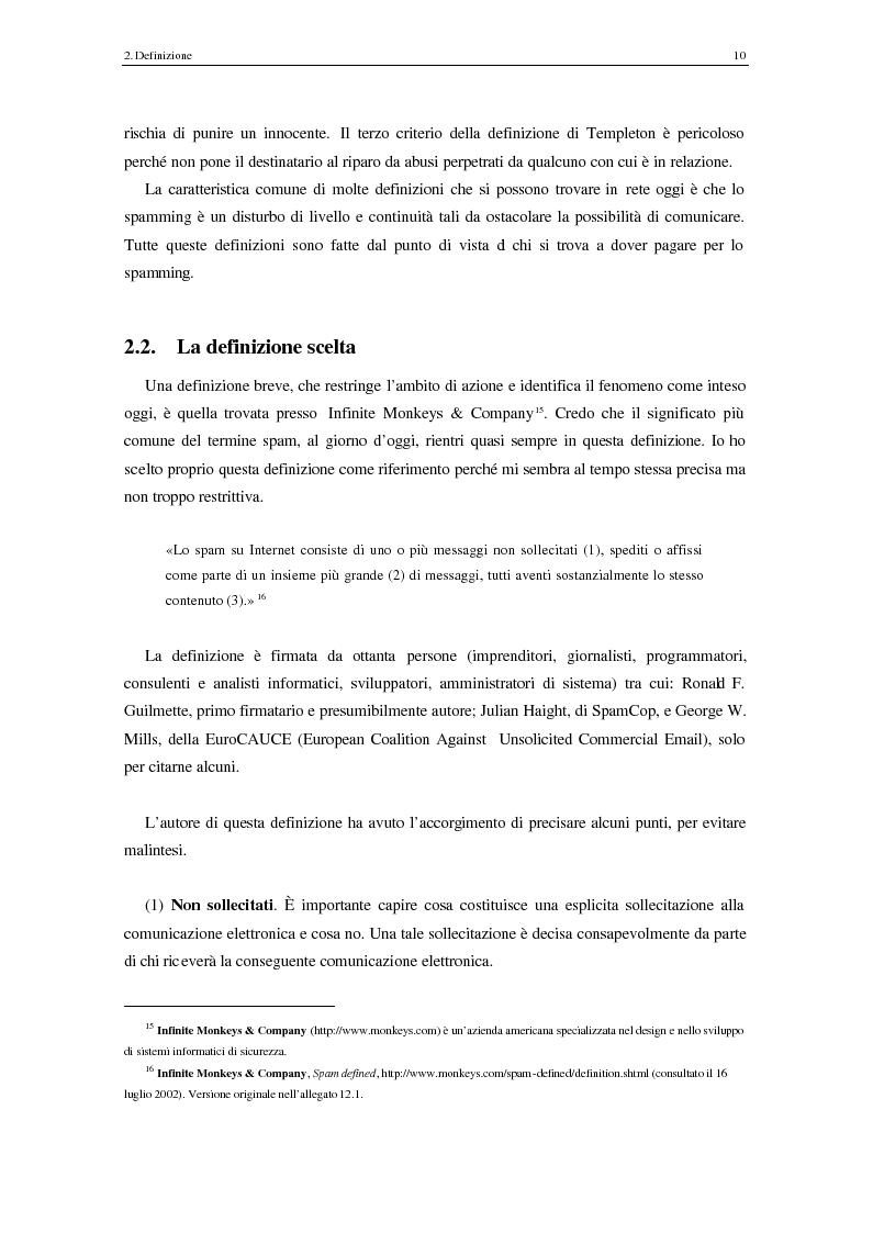 Anteprima della tesi: Analisi degli aspetti tecnici e comunicativi dello spamming sulla base di informazione documentaria e di test effettuati in rete, Pagina 10
