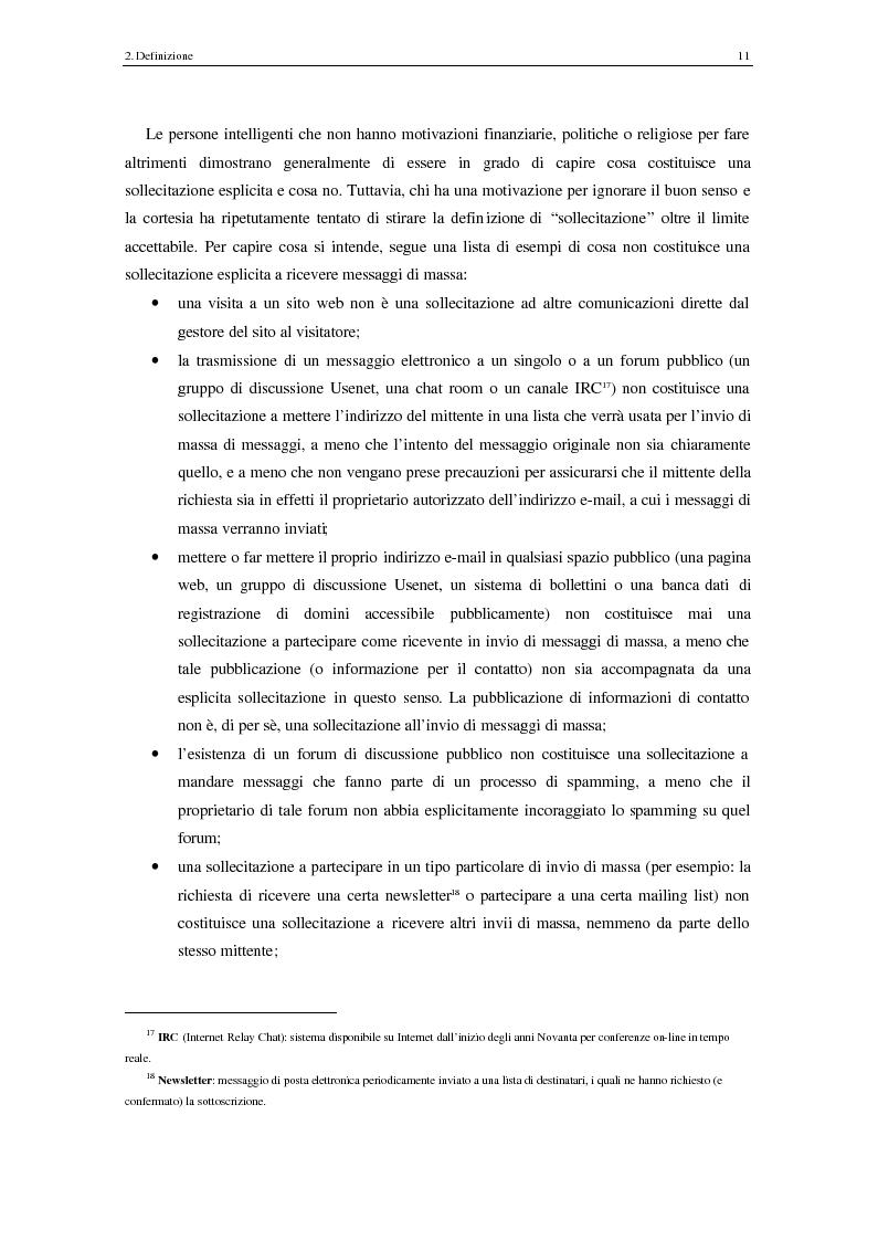 Anteprima della tesi: Analisi degli aspetti tecnici e comunicativi dello spamming sulla base di informazione documentaria e di test effettuati in rete, Pagina 11