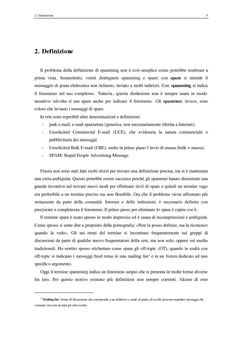 Anteprima della tesi: Analisi degli aspetti tecnici e comunicativi dello spamming sulla base di informazione documentaria e di test effettuati in rete, Pagina 5