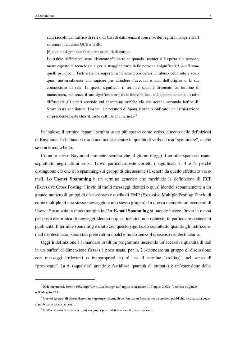 Anteprima della tesi: Analisi degli aspetti tecnici e comunicativi dello spamming sulla base di informazione documentaria e di test effettuati in rete, Pagina 7