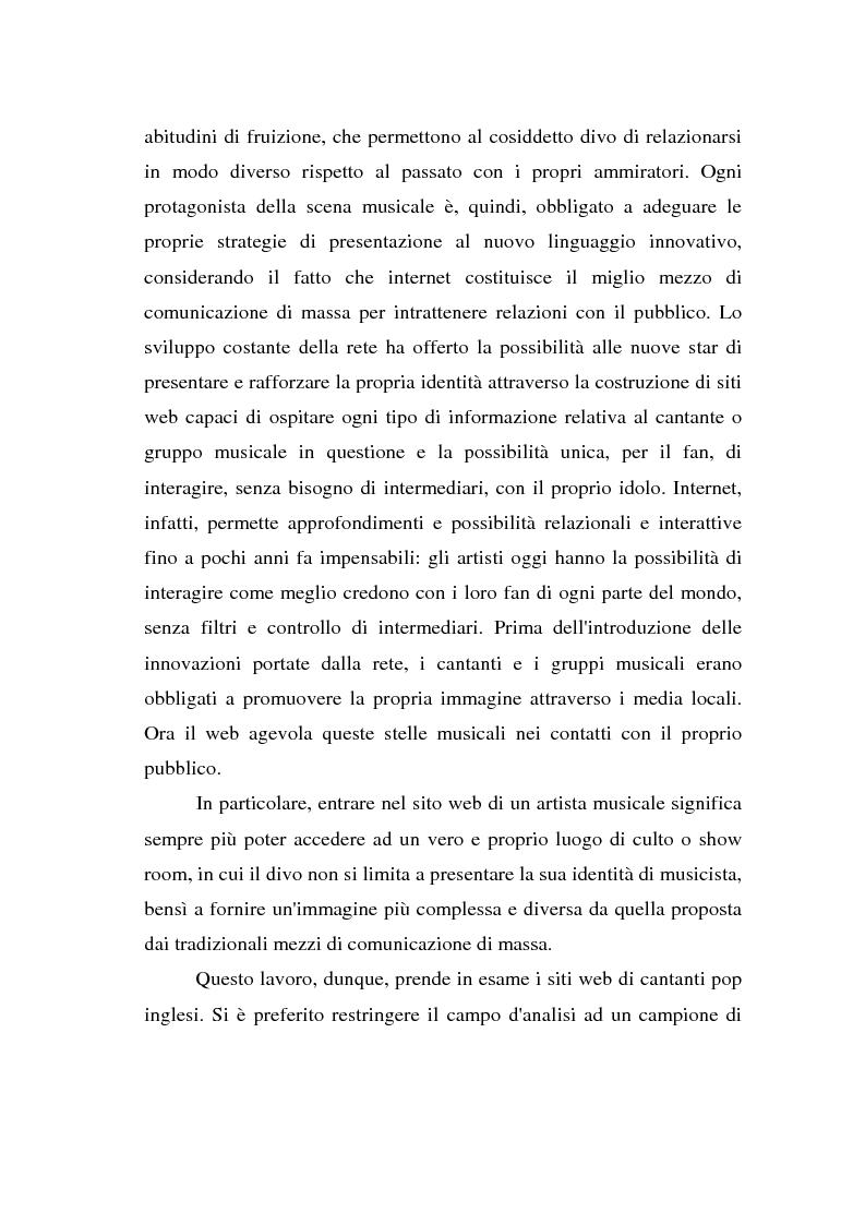 Anteprima della tesi: Internet e la costruzione dell'immagine del divo: il caso dei cantanti e gruppi musicali on line, Pagina 2