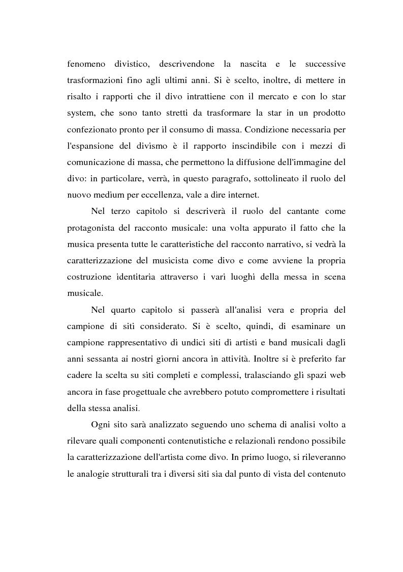Anteprima della tesi: Internet e la costruzione dell'immagine del divo: il caso dei cantanti e gruppi musicali on line, Pagina 4