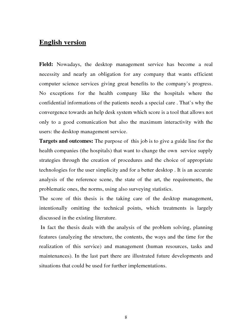 Anteprima della tesi: Gestione dell'utente e del suo desktop in un sistema informativo sanitario, il desktop management, Pagina 3