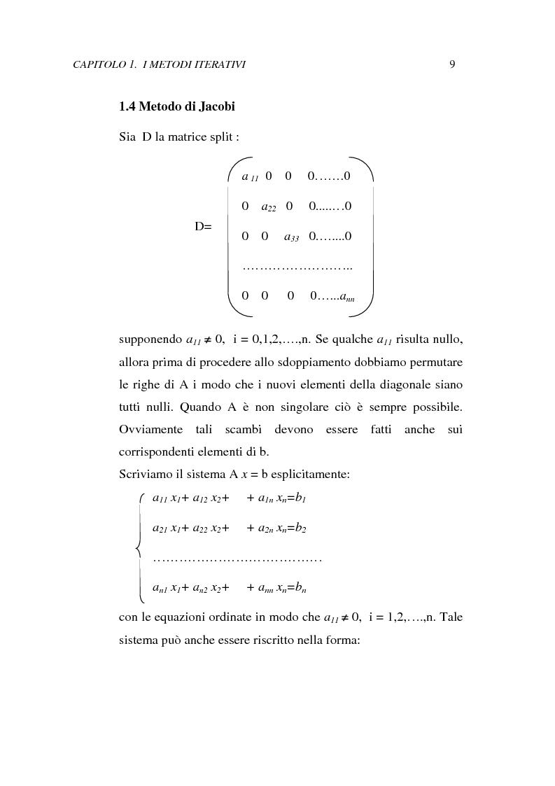 Anteprima della tesi: Metodi iterativi per la risoluzione di sistemi di equazioni lineari. Valutazione delle performance attraverso un codice Visual Basic, Pagina 12