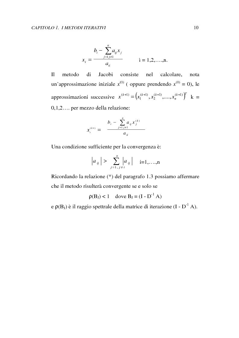 Anteprima della tesi: Metodi iterativi per la risoluzione di sistemi di equazioni lineari. Valutazione delle performance attraverso un codice Visual Basic, Pagina 13