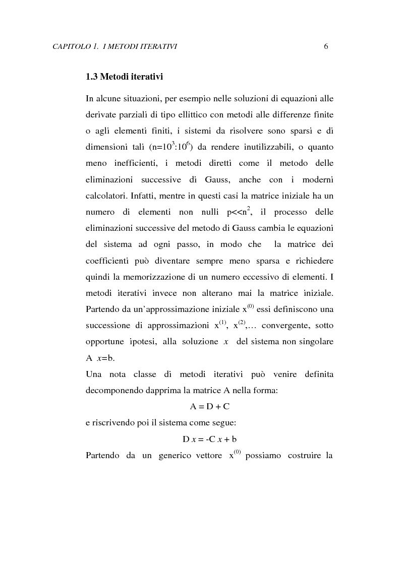 Anteprima della tesi: Metodi iterativi per la risoluzione di sistemi di equazioni lineari. Valutazione delle performance attraverso un codice Visual Basic, Pagina 9