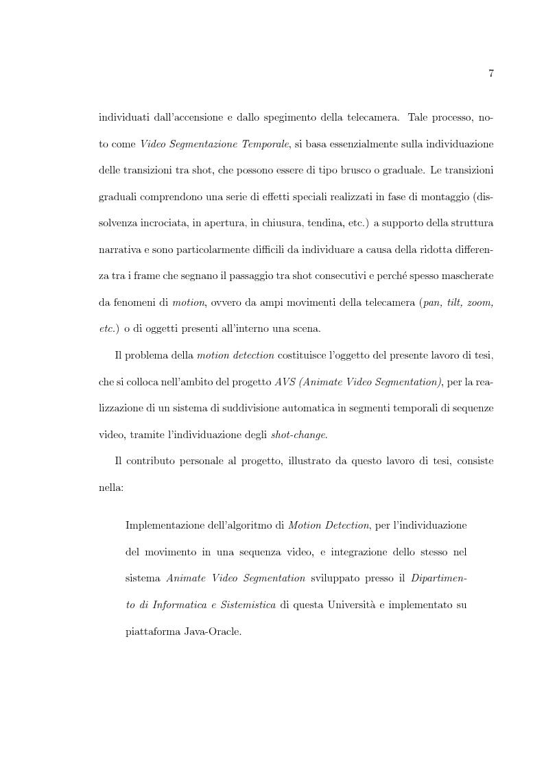 Anteprima della tesi: Uso di tecniche di motion detection per la video segmentazione, Pagina 2
