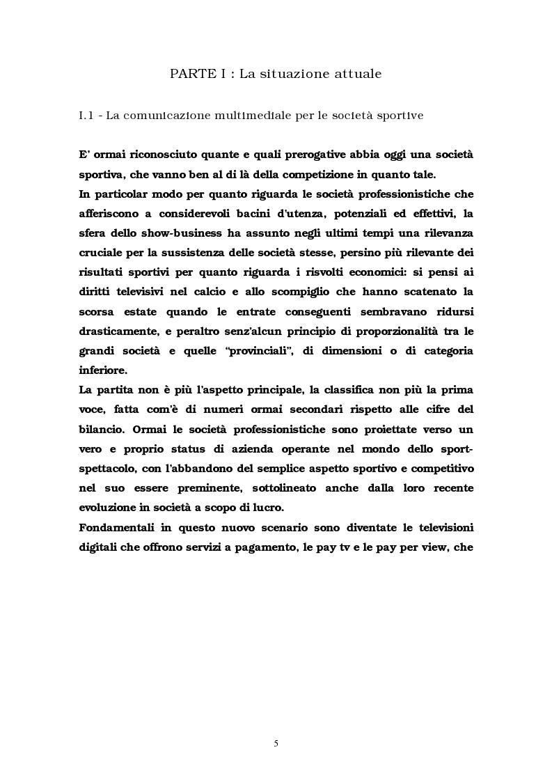 Anteprima della tesi: La comunicazione multimediale nelle società sportive, Pagina 3