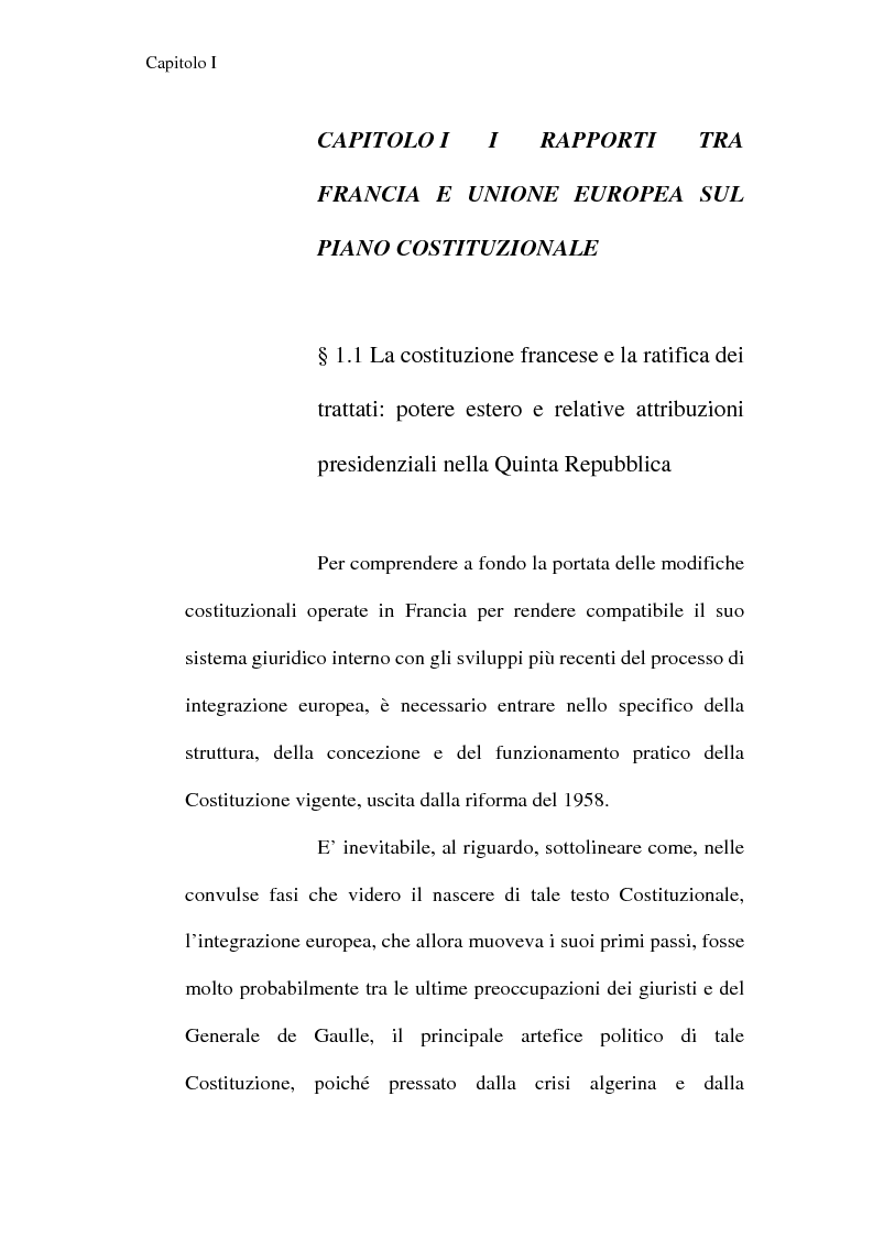 Anteprima della tesi: La Costituzione francese del 1958 e l'Unione europea, Pagina 1