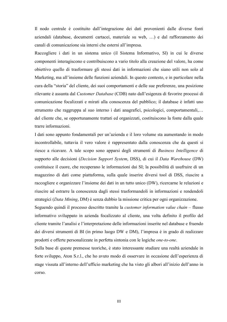 Anteprima della tesi: Gestire i dati per conoscere il cliente: utilizzo di database, data warehouse e data mining. Il caso Aton srl, Pagina 3
