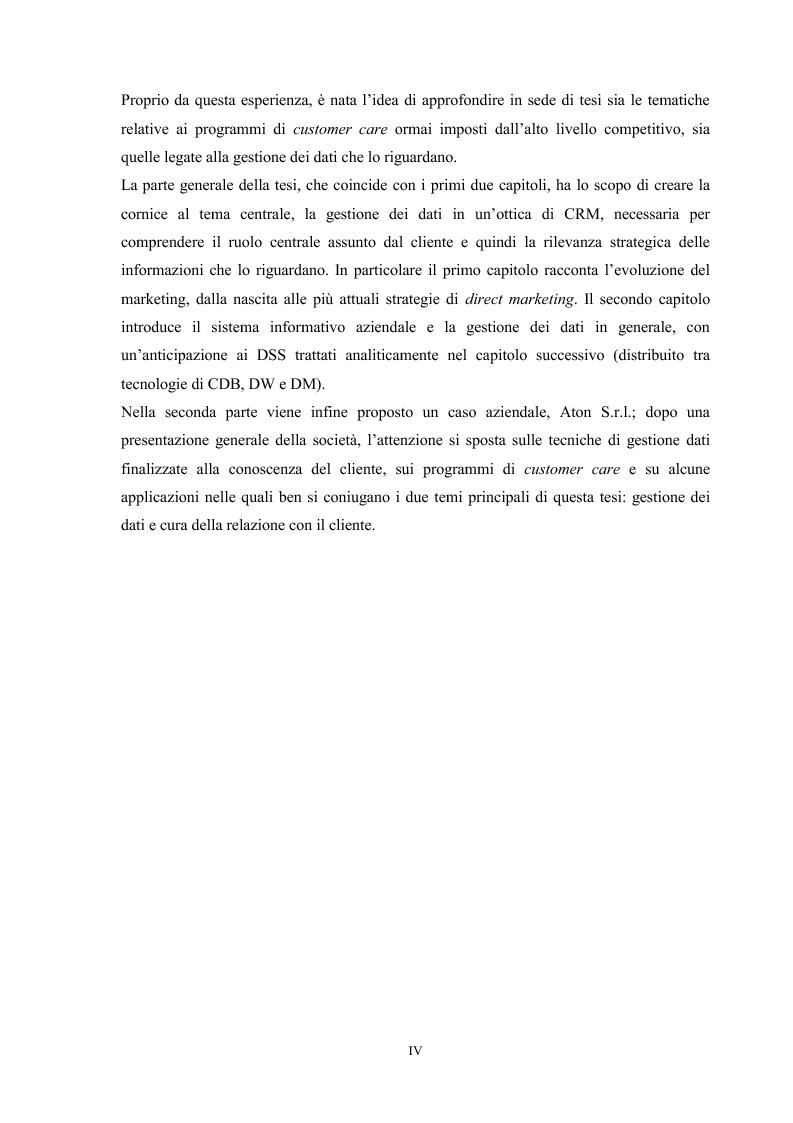Anteprima della tesi: Gestire i dati per conoscere il cliente: utilizzo di database, data warehouse e data mining. Il caso Aton srl, Pagina 4