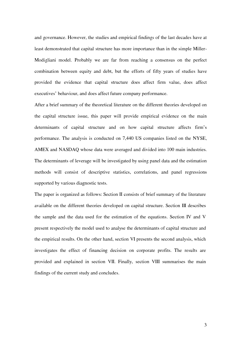 Anteprima della tesi: The Determinants of Capital Structure and its Effects on Corporate Performance:an Econometric Analysis Based on 7,440 US Companies, Pagina 3
