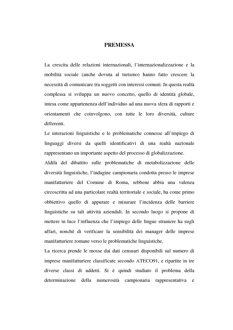 Anteprima della tesi: Barriere linguistiche alla globalizzazione. Analisi statistica dei dati di un campione di manager di imprese manifatturiere del Comune di Roma, Pagina 1
