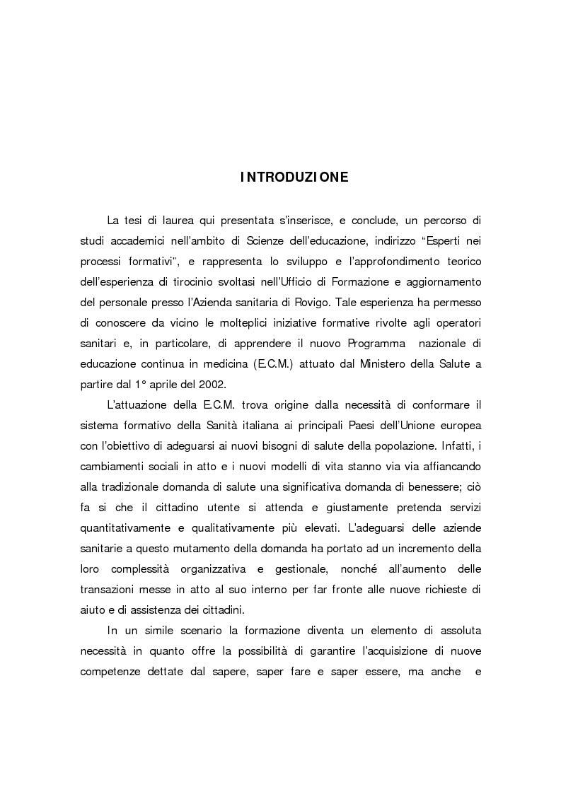 Anteprima della tesi: Formazione continua nella sanità: il programma di educazione continua in sanità, Pagina 1
