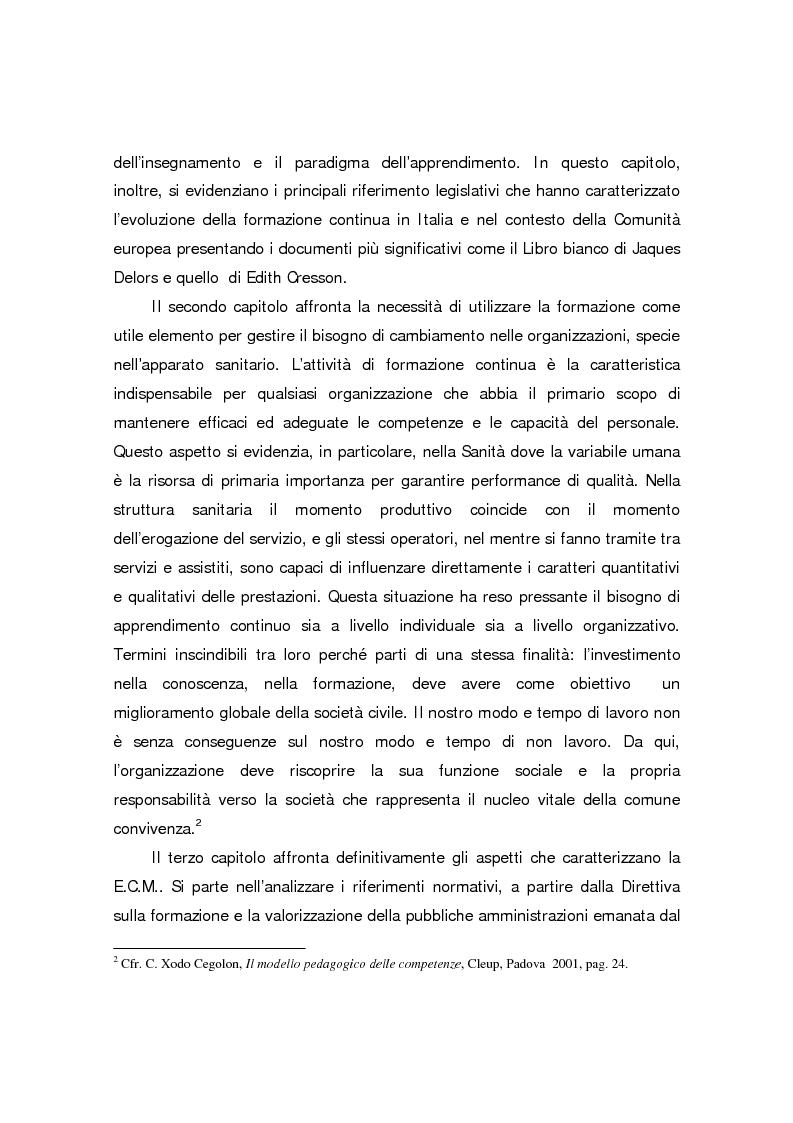 Anteprima della tesi: Formazione continua nella sanità: il programma di educazione continua in sanità, Pagina 4