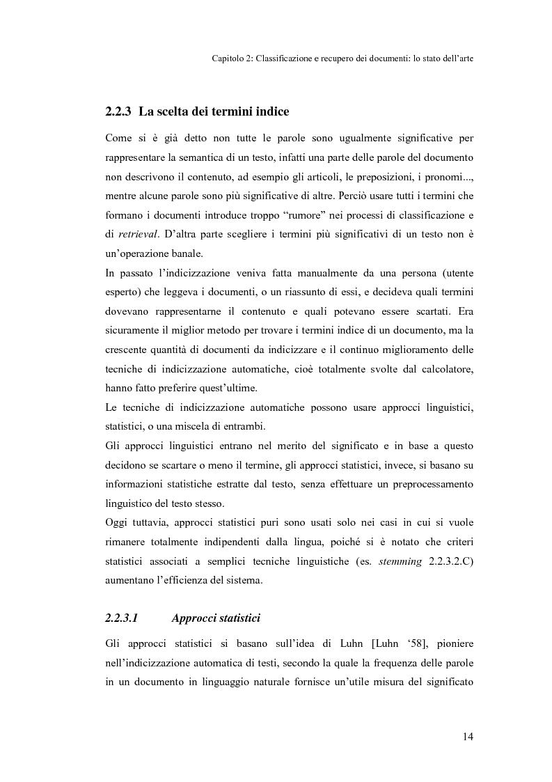 Anteprima della tesi: Sistema di classificazione e recupero dei documenti basato sul linguaggio naturale, Pagina 13