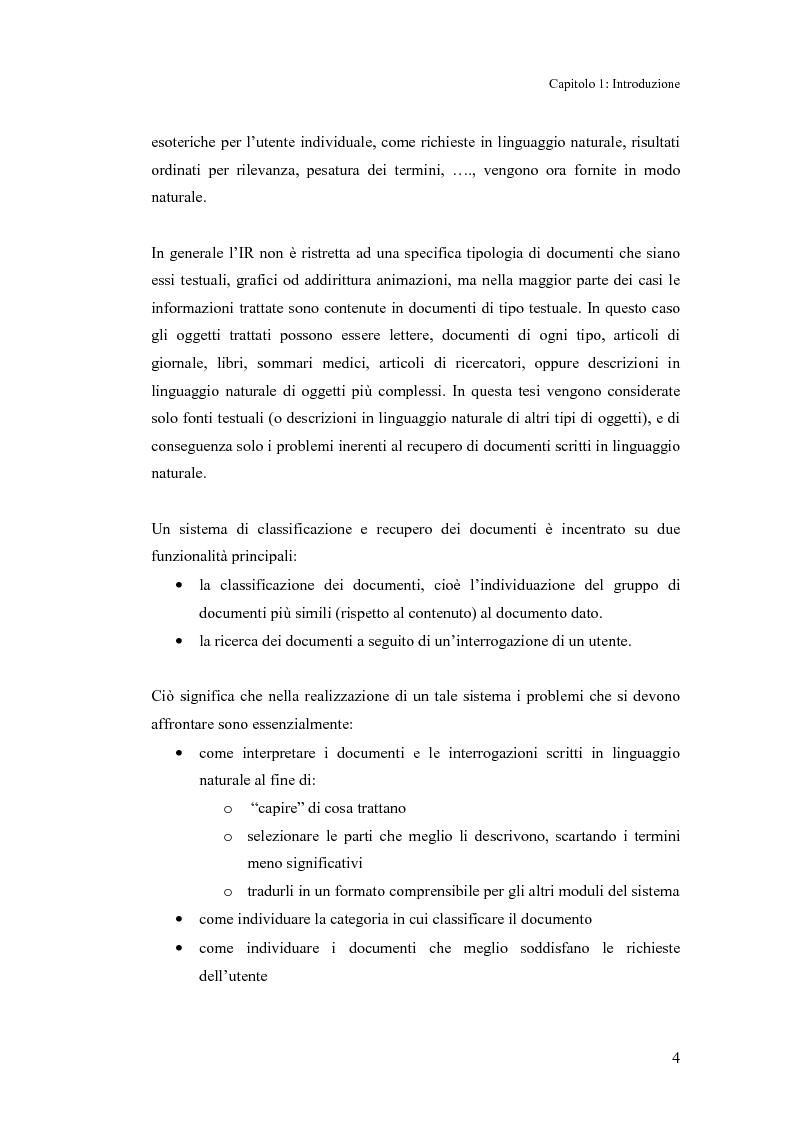 Anteprima della tesi: Sistema di classificazione e recupero dei documenti basato sul linguaggio naturale, Pagina 3