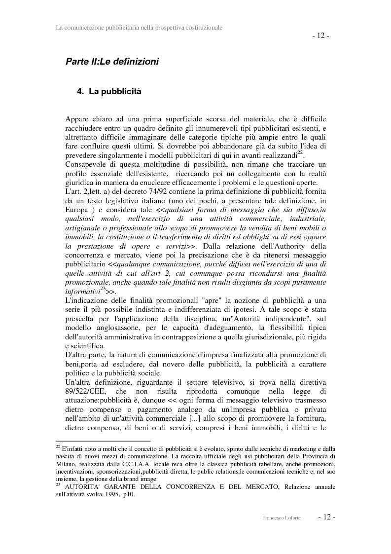Anteprima della tesi: La comunicazione pubblicitaria nella prospettiva costituzionale, Pagina 12