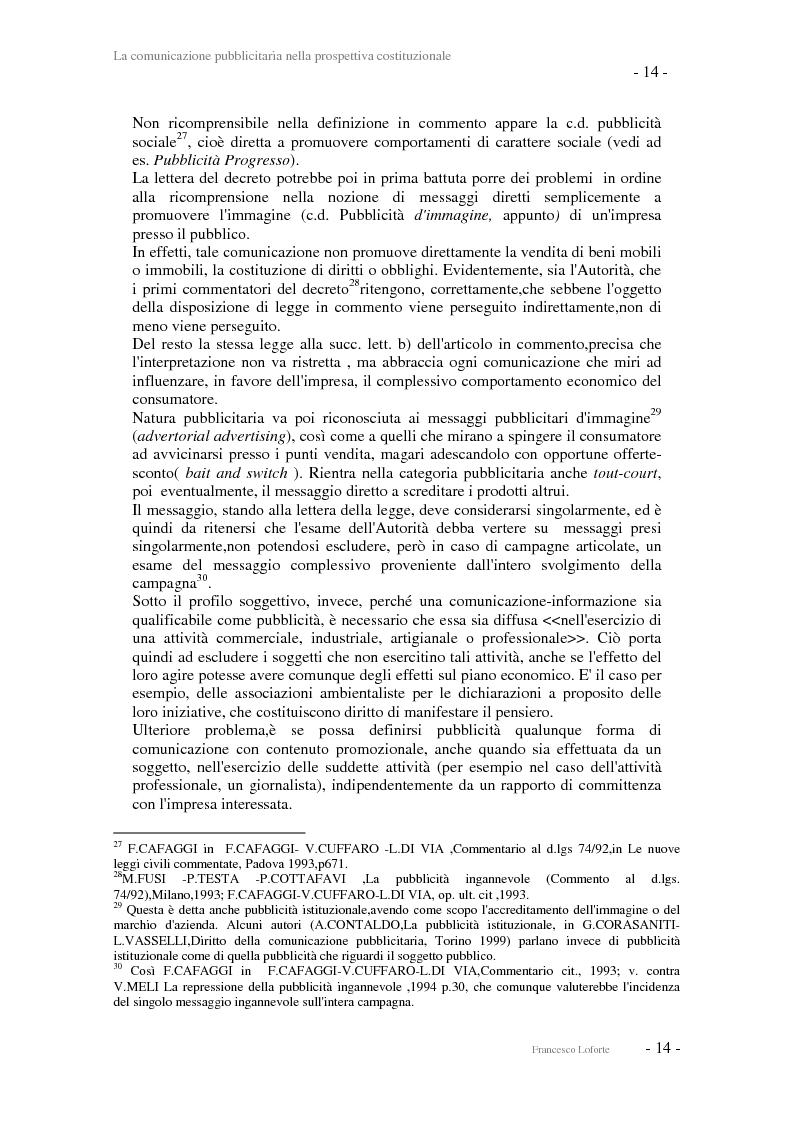 Anteprima della tesi: La comunicazione pubblicitaria nella prospettiva costituzionale, Pagina 14