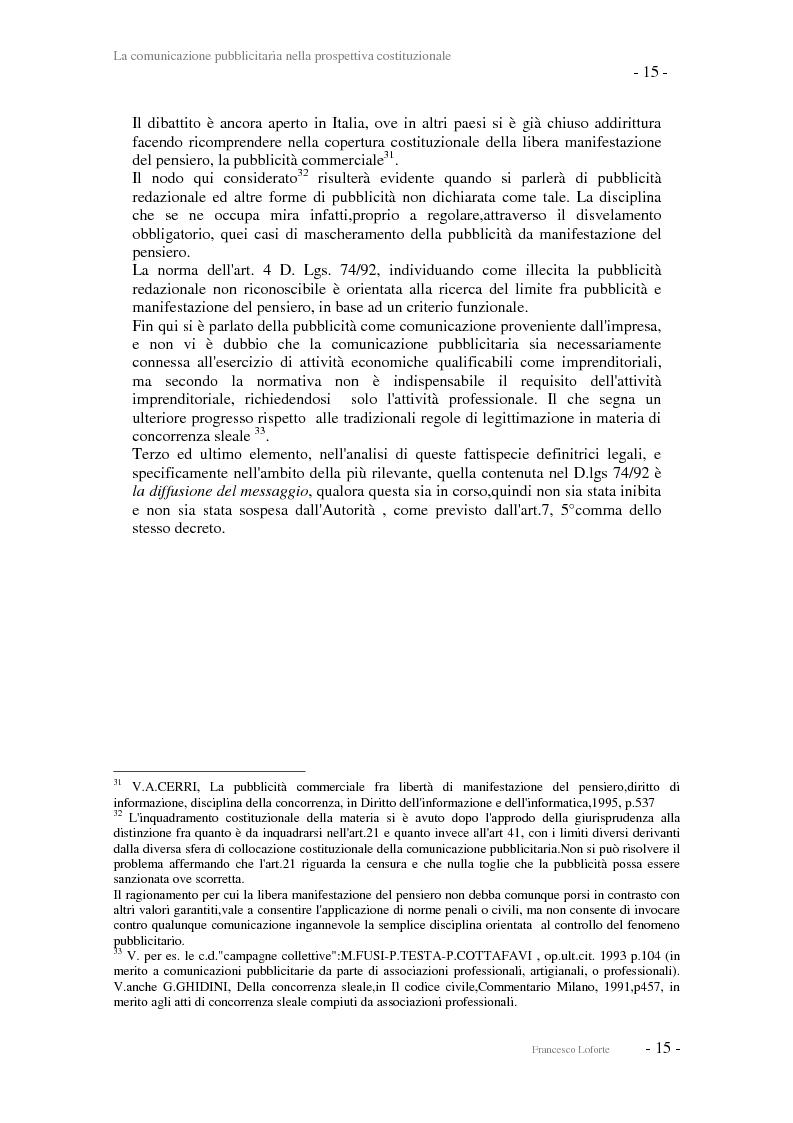 Anteprima della tesi: La comunicazione pubblicitaria nella prospettiva costituzionale, Pagina 15